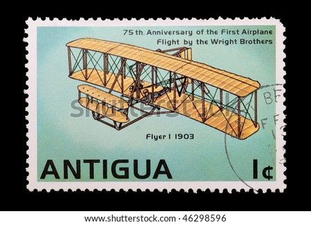 ANTIGUA - CIRCA 1978: mail stamp printed in Antigua showing the Wright brothers first powered flight, circa 1978 - stock photo