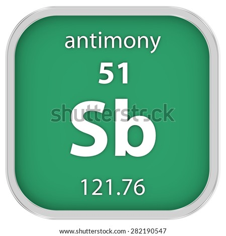Antimony material on the periodic table. Part of a series. - stock photo
