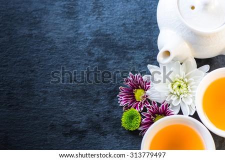 Antioxidant therapy fresh tea background - stock photo
