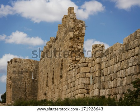 Antipatris fortress built by Herod the Great, located in Israel - stock photo