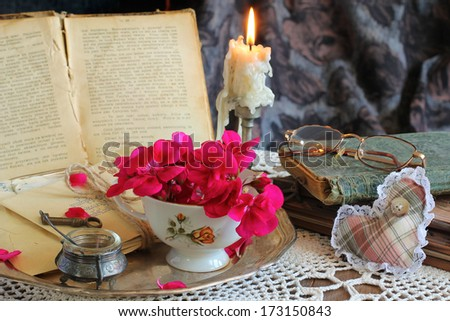 antique accessories, old letters,, red rose flowers and keys. sentimental nostalgic background  - stock photo