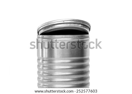 Antique aluminum can open up isolated on white - stock photo