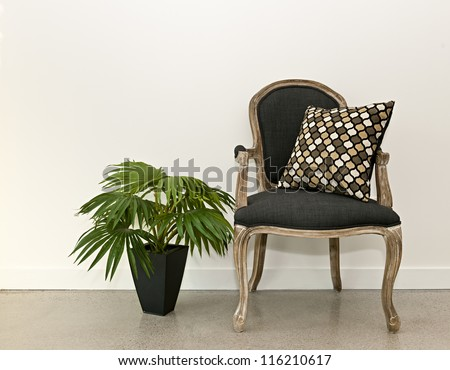 Antique armchair furniture with houseplant against white wall, interior design concept - stock photo