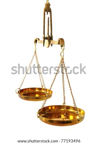 antique balance scale with empty pans on white background - stock photo