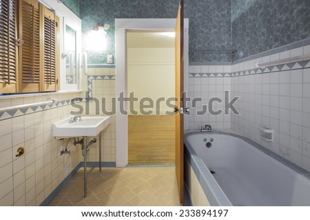 Antique bathroom within bath-top with mirror.  - stock photo