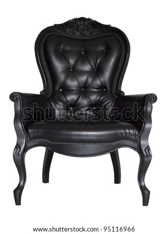 antique black leather chair isolated on white - stock photo