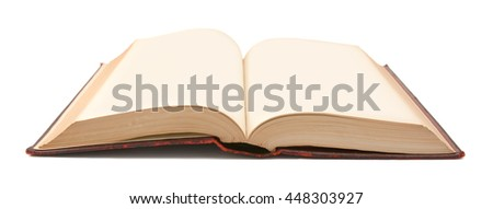 Antique bound hardback book, open to reveal blank pages offering copy space, on a white background - stock photo