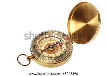 antique brass compass isolated on white background - stock photo