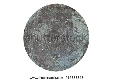 Antique bronze drum isolated on white background - stock photo