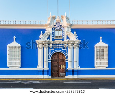 Antique build in the down town of Trujillo city, Peru. - stock photo