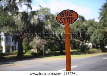 Antique bus stop sign - stock photo