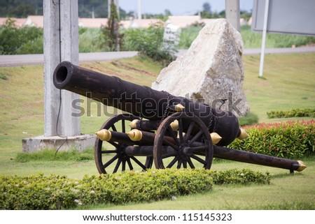 Antique cannon place for decoration. - stock photo