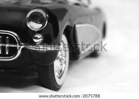 Antique car in the snow - stock photo