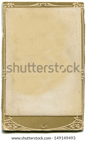 antique cardboard photo mat, isolated on white - stock photo