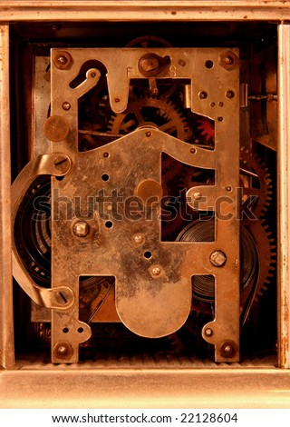 Antique carriage clock movement - stock photo