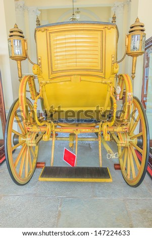 Antique carriages at Bang Pa - In palace in Ayuttaya province of Thailand. - stock photo