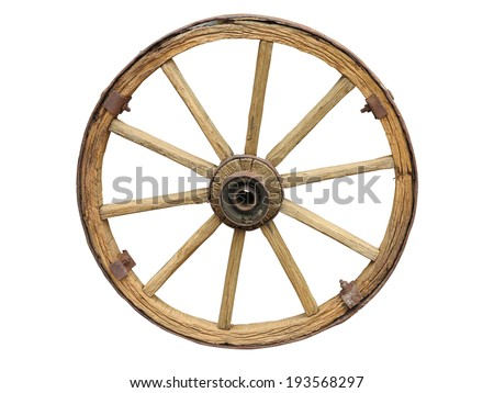 Antique Cart Wheel made of wood and iron-lined isolated over white - stock photo