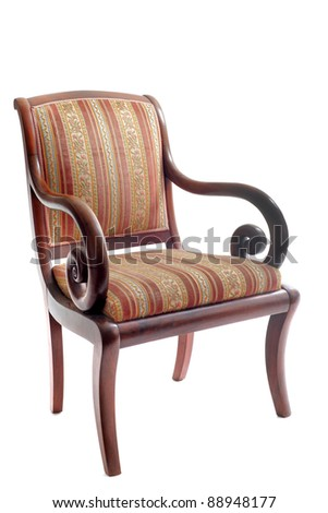 antique chair in front of white background - stock photo