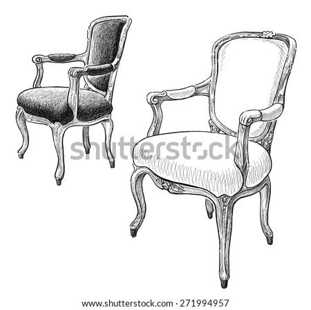 antique chairs - stock photo
