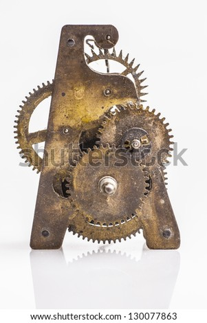 Antique clock gold gears - stock photo