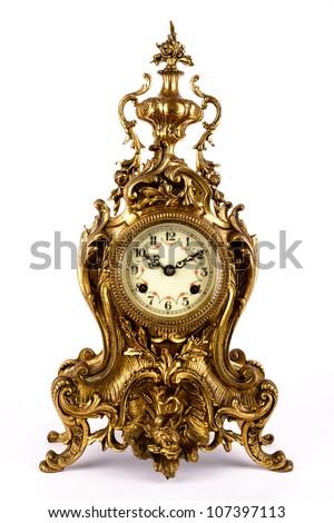 Antique clock isolated on white background. - stock photo