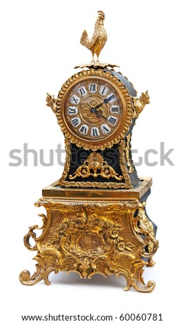 Antique clock with animals figurines isolated on white. Clipping path included. - stock photo