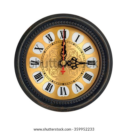 antique clock with roman numbers on white background - stock photo