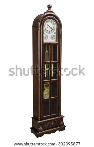 Antique clock with wood carved decoration, isolated on white, with clipping path - stock photo