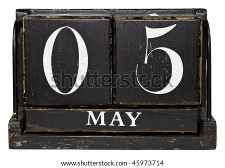 Antique Cube Calendar showing May 5 - Cinco de Mayo, isolated on a white background - stock photo