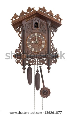 Antique cuckoo clock, (made in 1798), isolated for creative background - stock photo