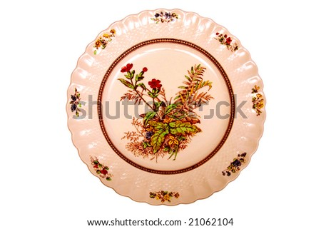 Antique dinner plate. - stock photo