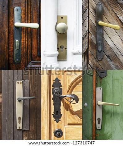 Antique door handles collage - stock photo