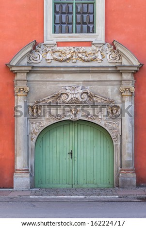 Antique doors and entrance to the building in the Old Town - Gdansk, Poland. - stock photo