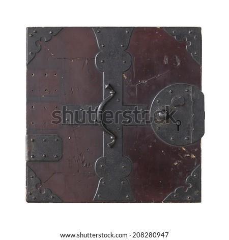 Antique drawer lid isolated on white background - stock photo