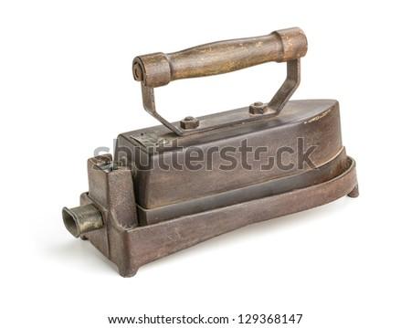 antique electric iron - stock photo