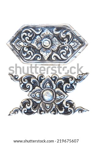 antique engraved silver - stock photo