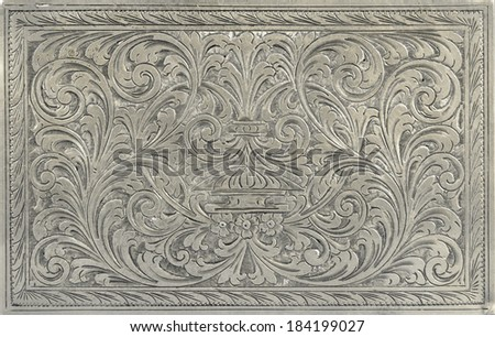 Antique engraved silver, may be used as decoration - stock photo