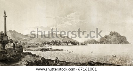 antique engraving of Palermo bay view form Bagheria, Italy. The original illustration was created by Morselli and Rosaspina and was published in 1845 - stock photo