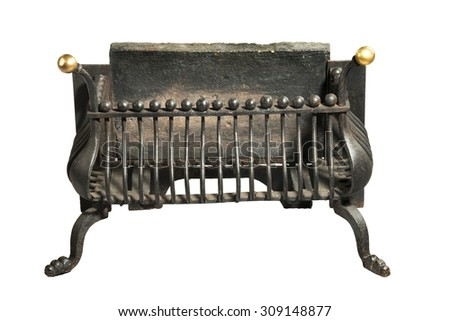 Antique fireplace grate victorian for smaller fire places - stock photo