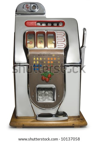 Antique five cent chrome slot machine - stock photo