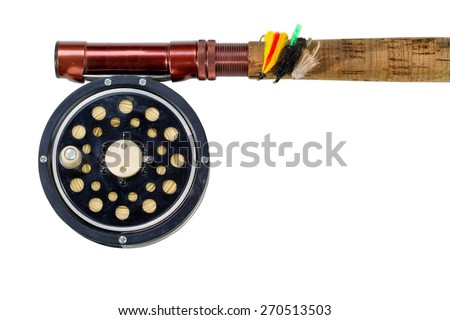 Antique fly fishing reel, flies and rod isolated on white background.  - stock photo