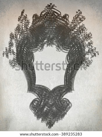 antique frame drawing grunge - stock photo