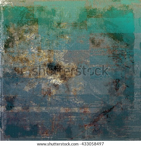 Antique frame or background with vintage feeling. Aged texture with different color patterns: yellow (beige); brown; green; blue; gray; cyan - stock photo