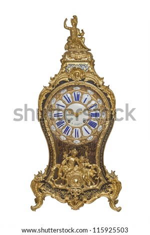 Antique French clock from the 19th century, isolated on white - stock photo