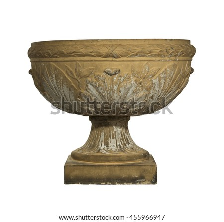 Antique garden urn for wall decorated made from terracotta isolated on white with clipping path - stock photo