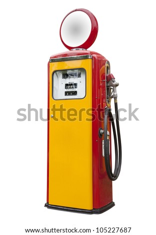 Antique gas pump on white, isolated - stock photo
