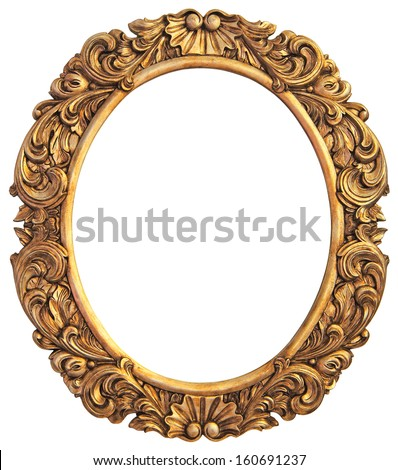 Antique gilded Frame Isolated with Clipping Path  - stock photo