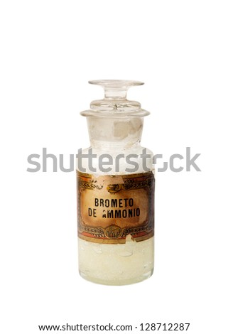 Antique glass bottle for pharmaceutical use - stock photo