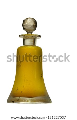 Antique glass pharmacy bottle with original label - stock photo