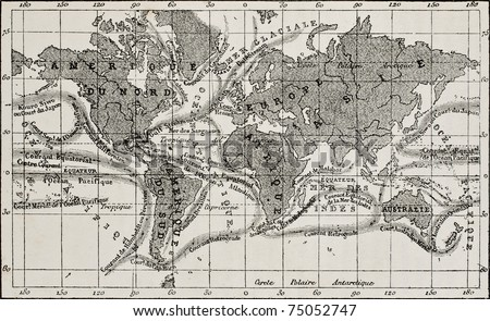 Antique global ocean currents French map. Created by Dumas-Vorzet, after sketch of Berghaus, Becquerel and Petermann, engraved by Erhard. Published on L'Eau, by G. Tissandier, Hachette, Paris, 1873 - stock photo